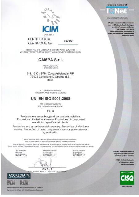 Certificato iso 9001 italiano