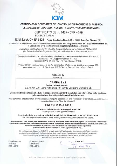 Certificato uni en 1090-1
