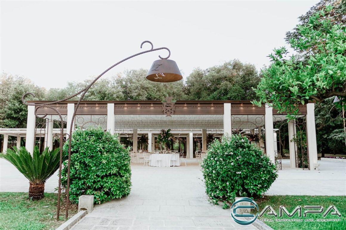 copertura location ricevimenti corten e pietra leccese villa zaira